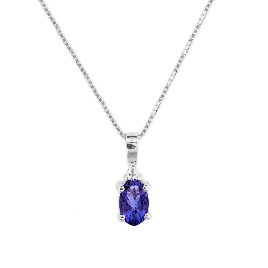 Oval Tanzanite Penant with Diamond Accent, 14K White Gold