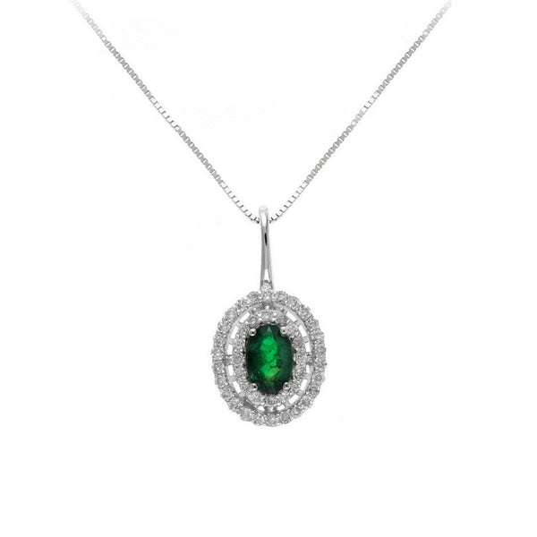 Oval Emerald and Double Diamond Halo Pendant, 14K White Gold
