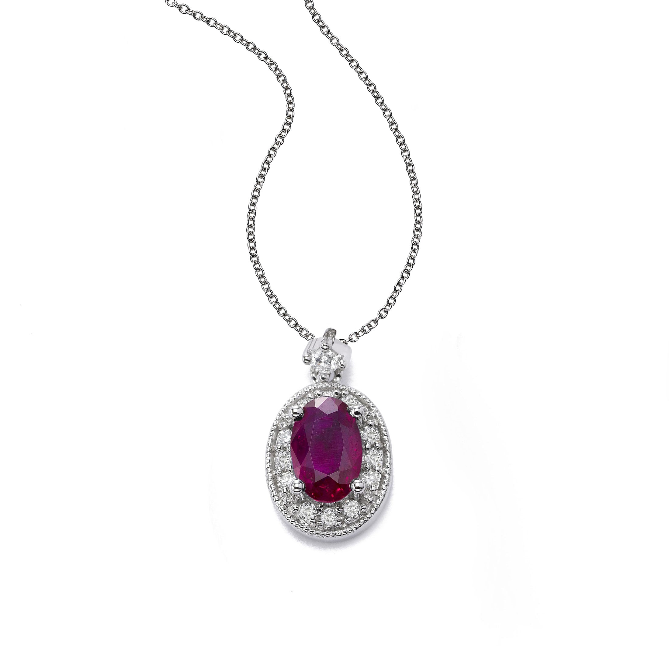 Oval Ruby and Diamond Halo Pendant, 14K White Gold