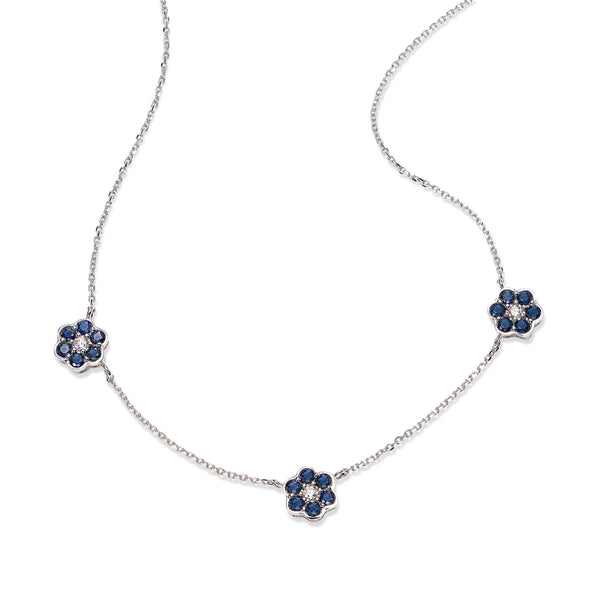 Sapphire and Diamond Flower Necklace, 14K White Gold