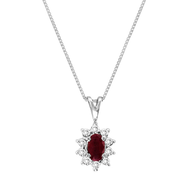 Oval Ruby and Diamond Pendant, 14K White Gold