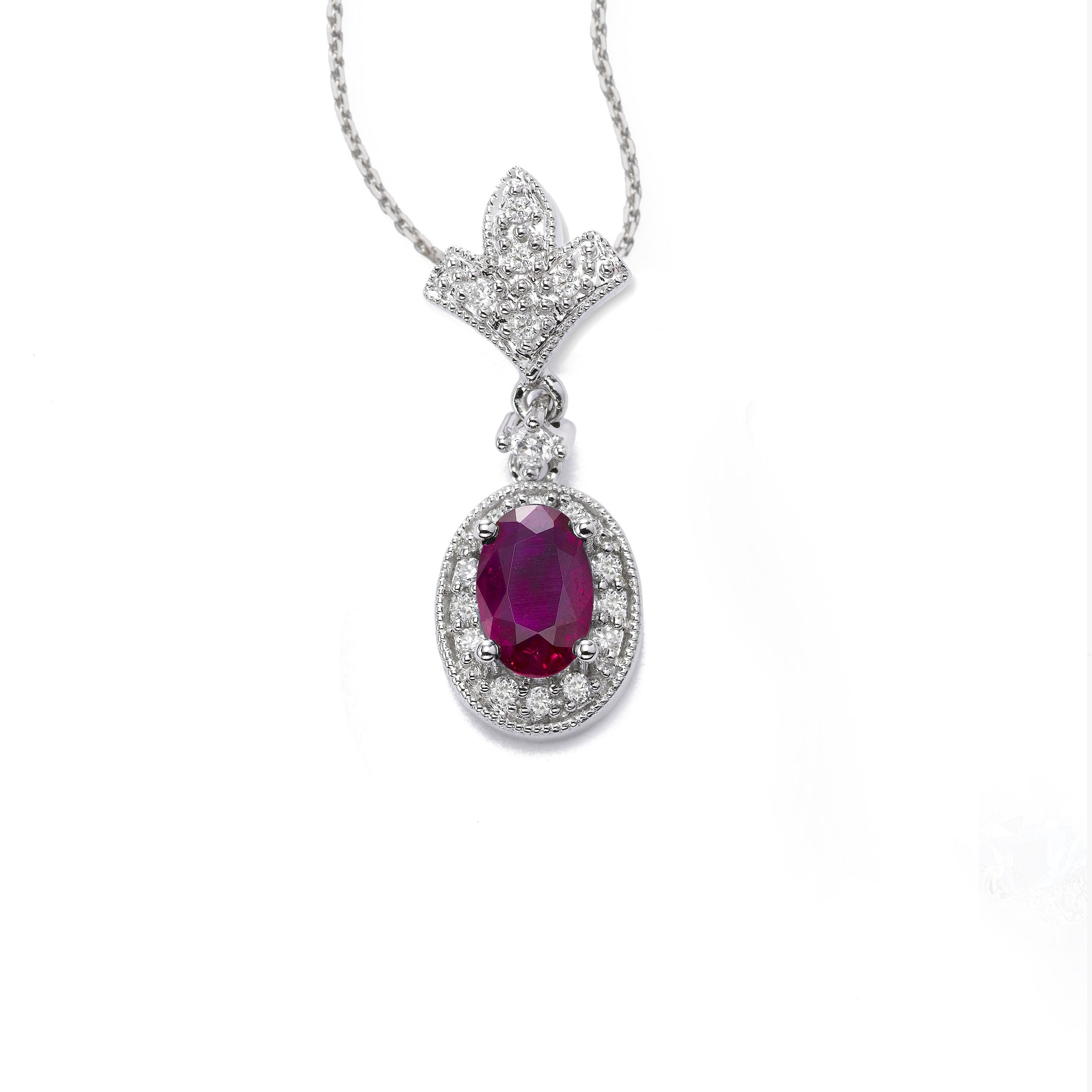Oval Ruby and Diamond Drop Pendant, 14K White Gold