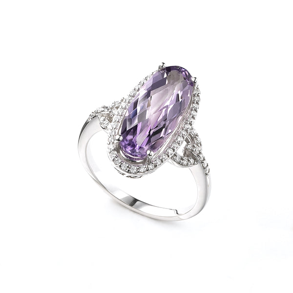 Amethyst and Diamond Ring, 14K White Gold