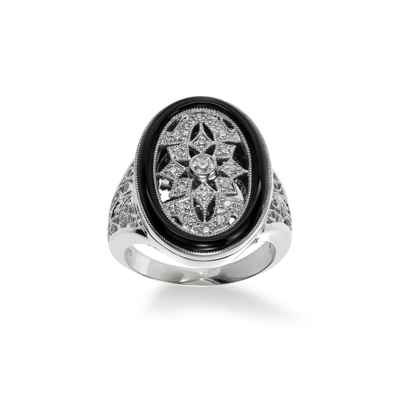 Deco Style Oval Onyx and Diamond Ring, Sterling Silver
