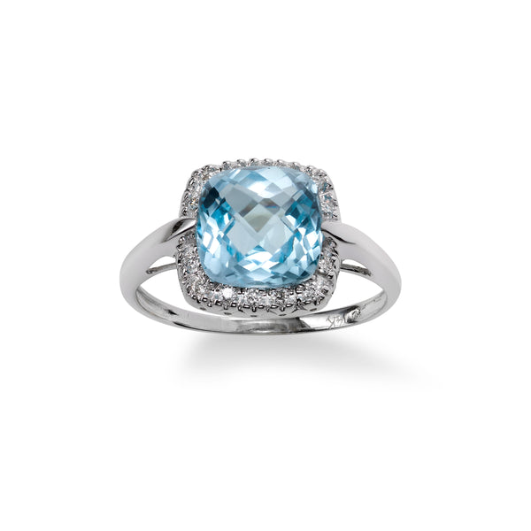 Cushion Cut Blue Topaz and Diamond Ring, 14K White Gold