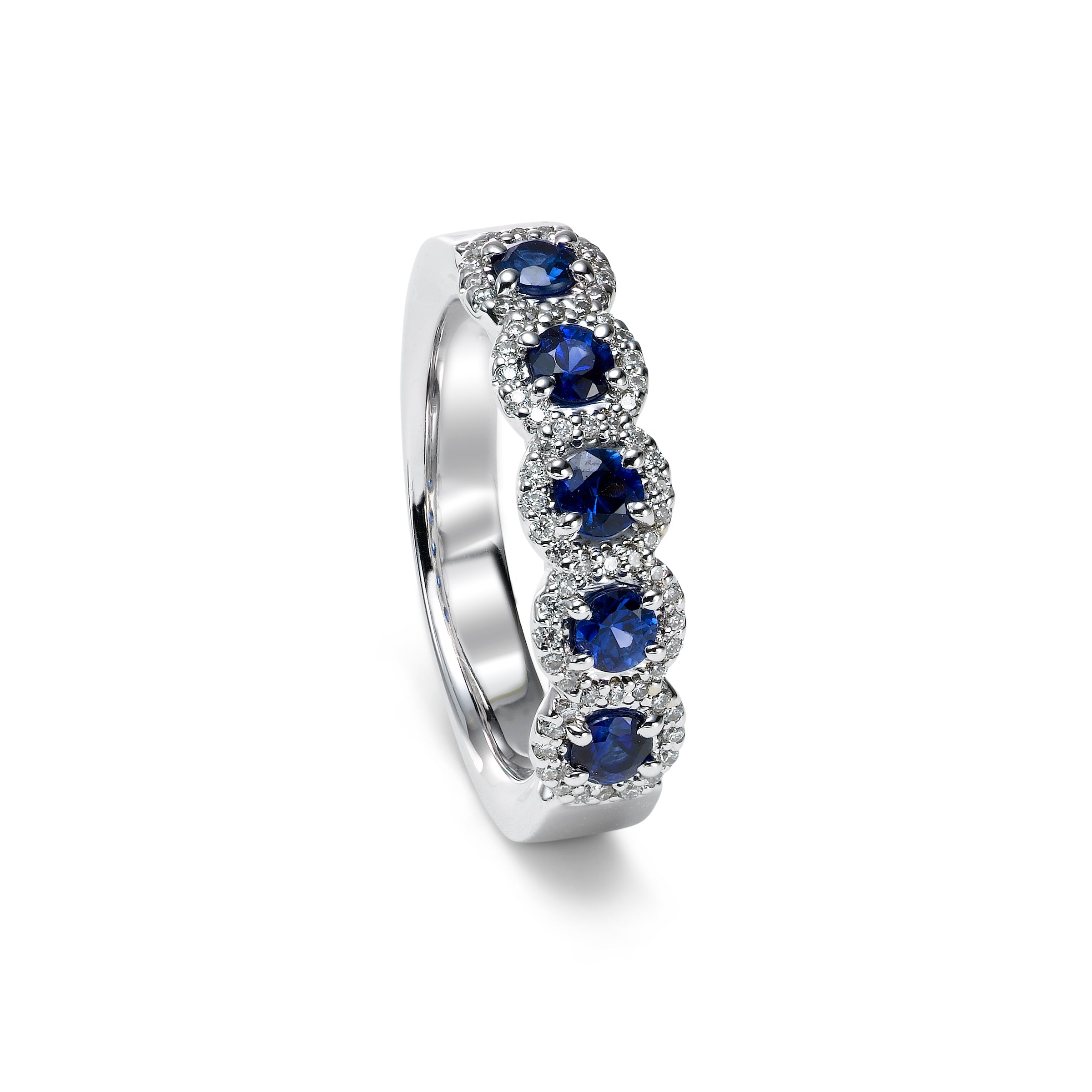 Five Stone Sapphire and Diamond Halo Band, 14K White Gold