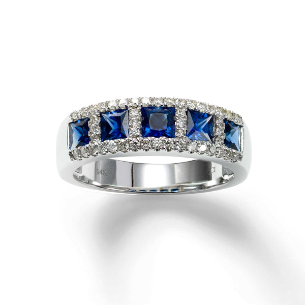 Five Stone Sapphire and Diamond Ring, 14K White Gold