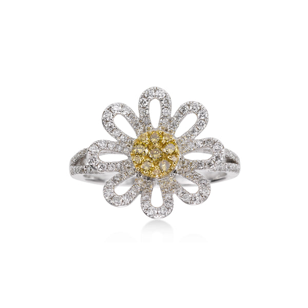 Yellow and White Pavé Diamond Flower Ring, 14 Karat Gold
