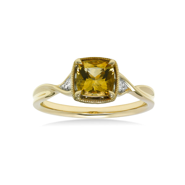 Square Citrine Ring with Diamond Accent, 14K Yellow Gold