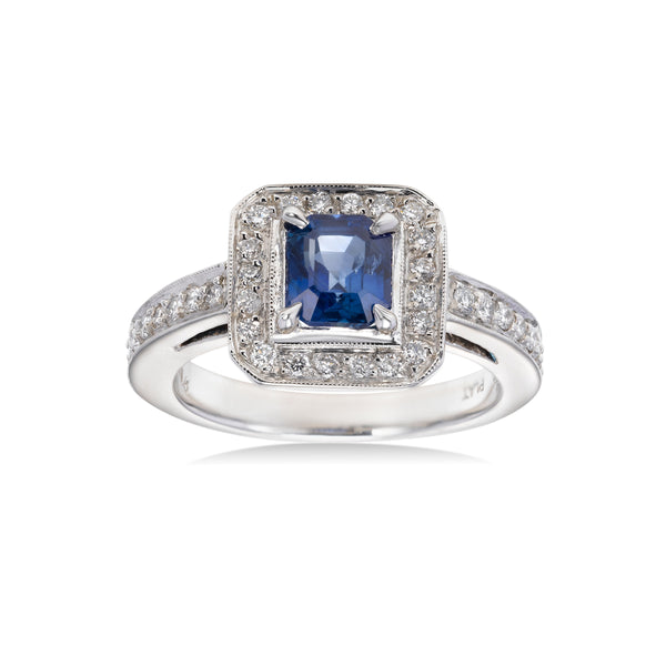 Emerald Cut Sapphire and Diamond Ring, Platinum
