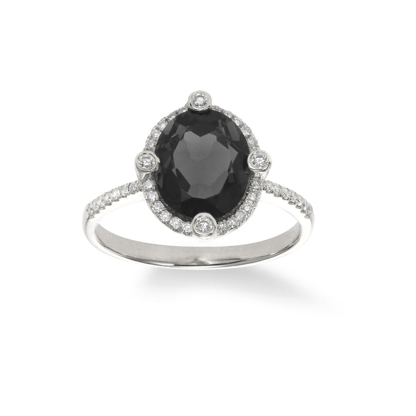 Black Agate and Diamond Ring, 14K White Gold