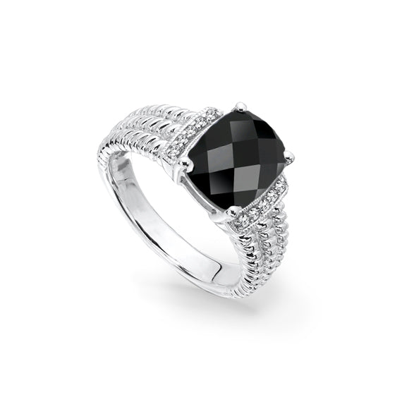 Oval Black Onyx Ring with Diamond Accent, Sterling Silver