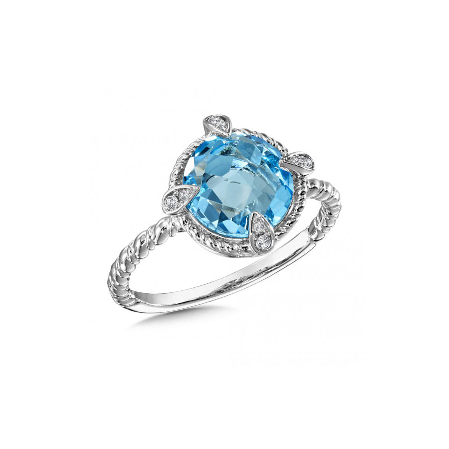 Round Blue Topaz and Diamond Ring, Sterling Silver