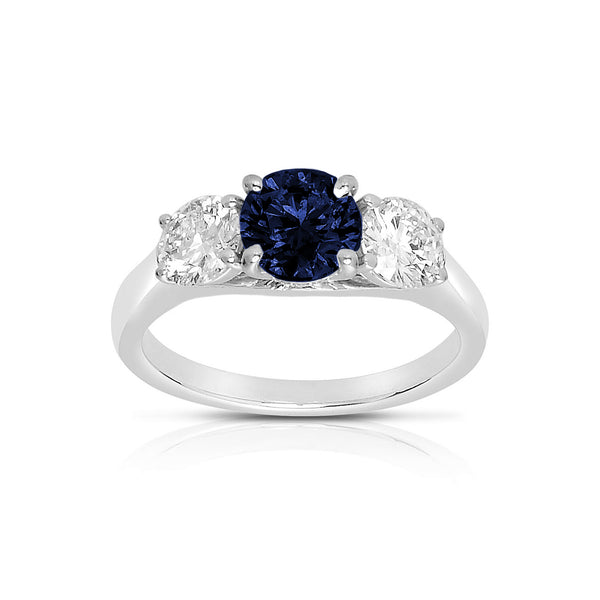 Three Stone Blue Sapphire and Diamond Ring, 18K White Gold
