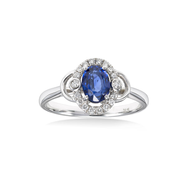 Oval Blue Sapphire and Diamond Halo Ring, 14K White Gold
