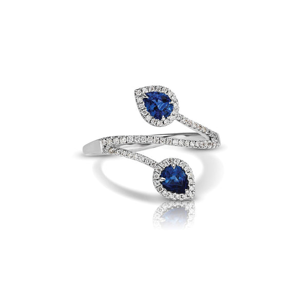 Bypass Pear Shape Sapphire and Diamond Ring, 14K White Gold