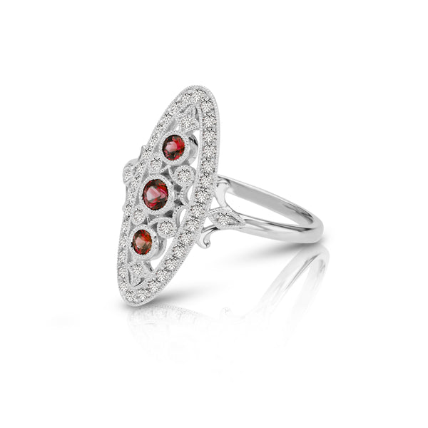 Vintage Style Ruby and Diamond Ring, 14K White Gold