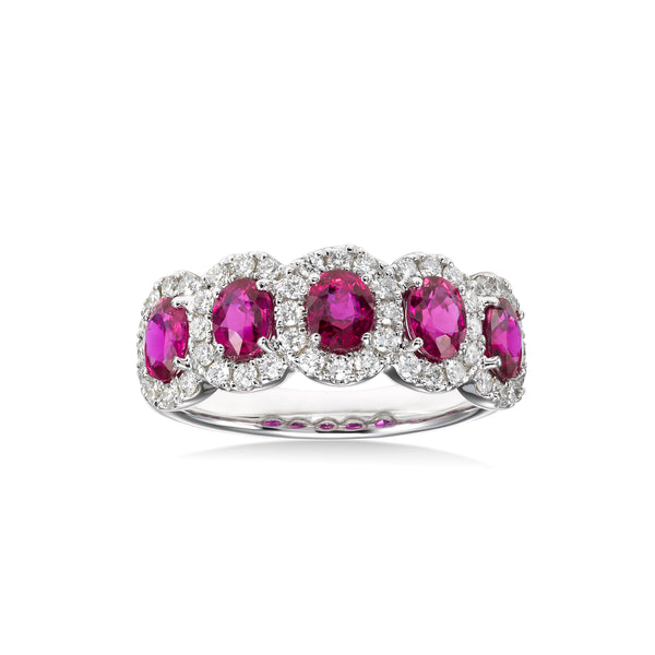 Five Stone Ruby and Diamond Halo Ring, 18K White Gold