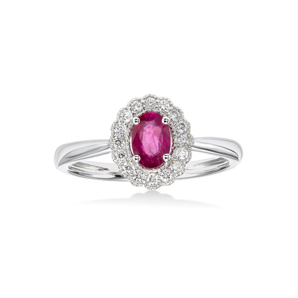 Vintage Design Ruby and Diamond Halo Ring, 14K White Gold