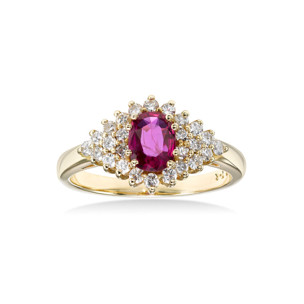 Marquise Shape Ruby and Diamond Ring, 14K Yellow Gold