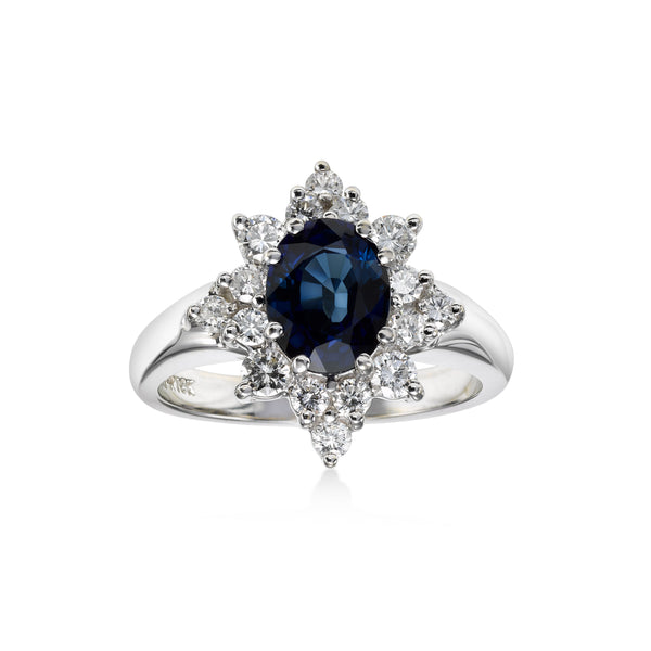 Oval Sapphire and Diamond Ring, 18K White Gold