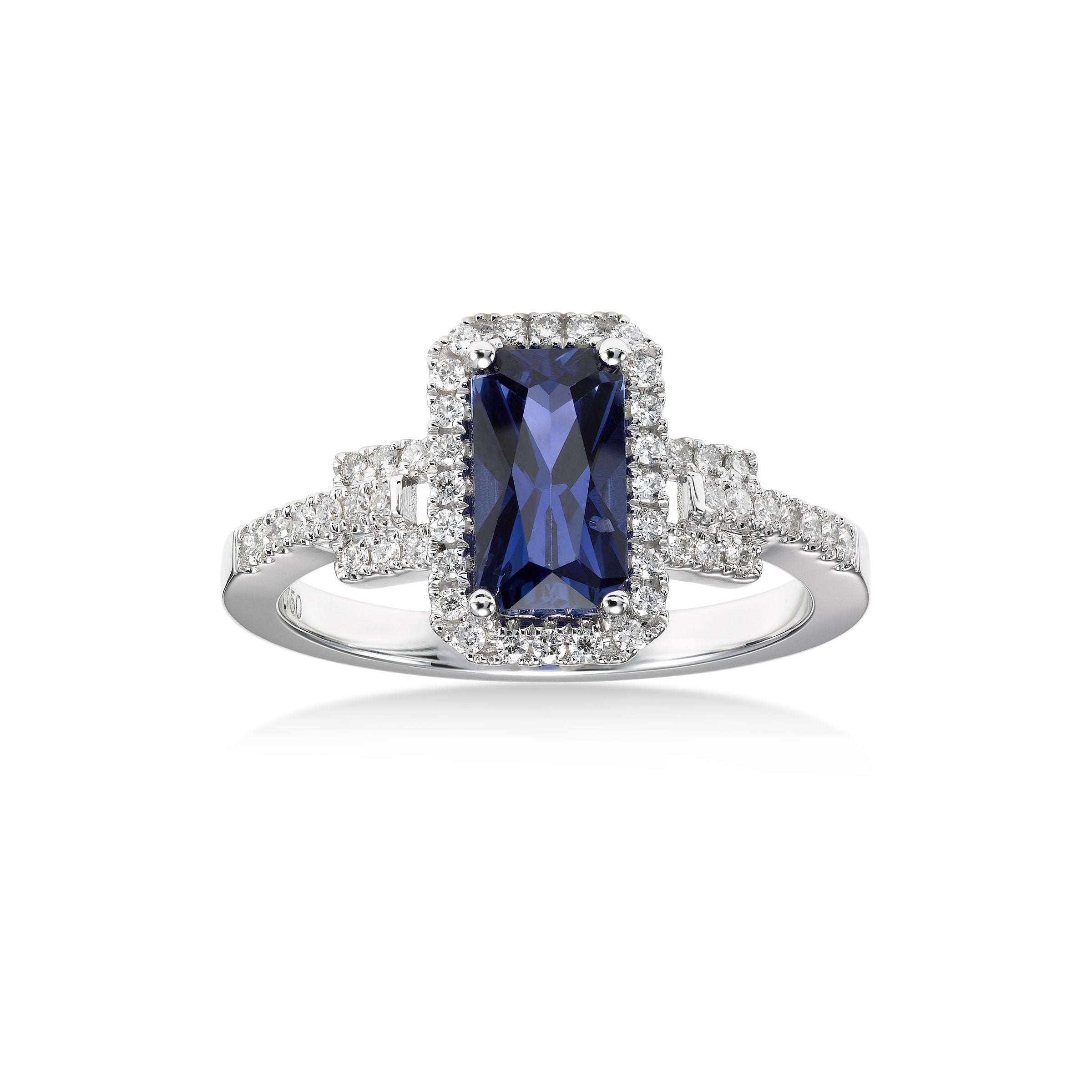 Rectangular Color Change Sapphire And Diamond Ring 18k