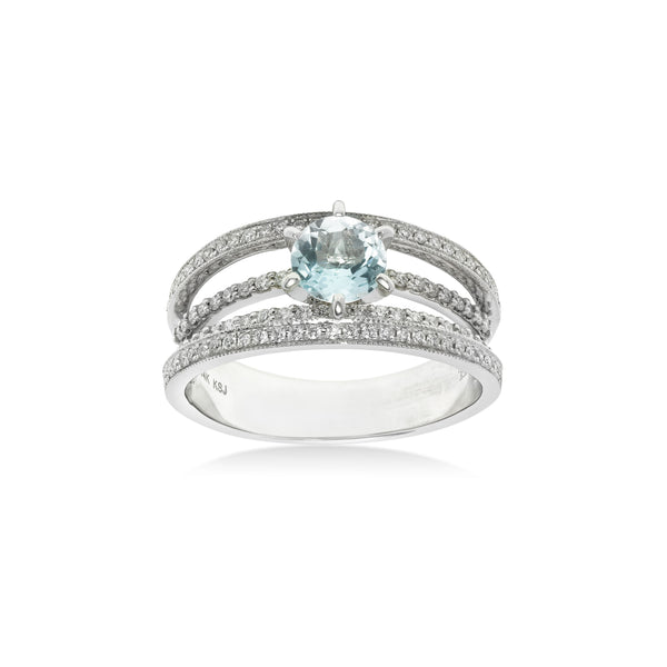 Round Aquamarine and Diamond Ring, 14K White Gold