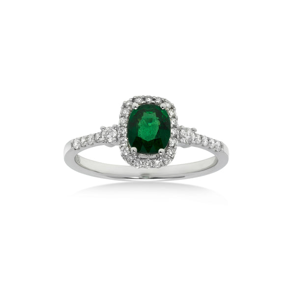 Tsavorite and Diamond Halo Ring , 18K White Gold