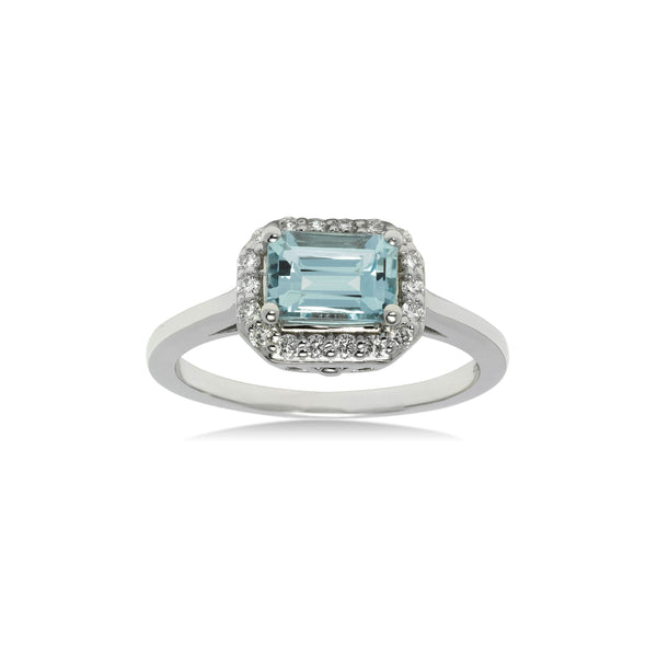 East West Aquamarine and Diamond Ring, 14K White Gold
