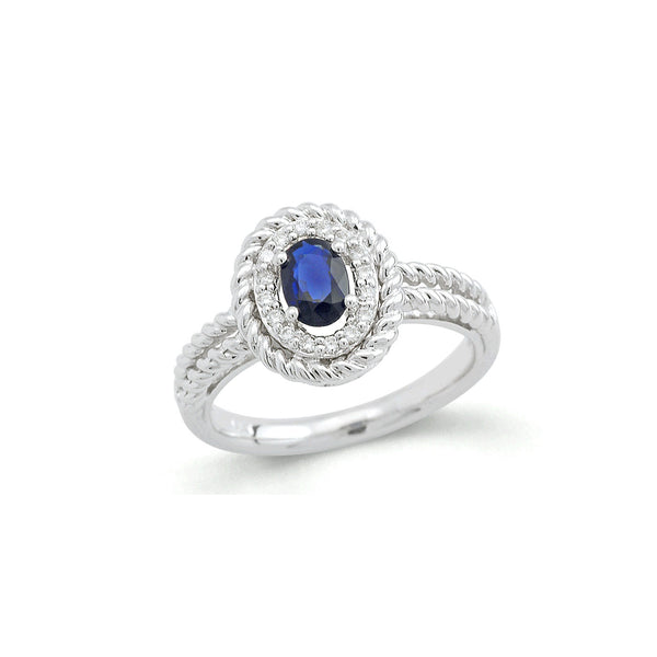 Oval Sapphire and Diamond Rope Design Ring, 14K White Gold