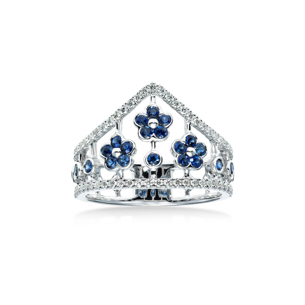Sapphire and Diamond Flowers Ring, 14K White Gold