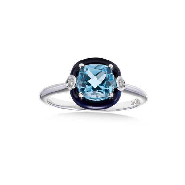 Cushion Shape Blue Topaz and Black Enamel Ring, 18K White Gold