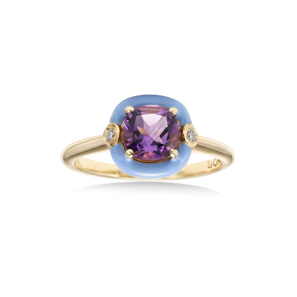 Cushion Shape Amethyst and Blue Enamel Ring, 18K Yellow Gold