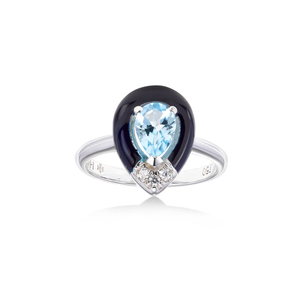 Pear Shape Blue Topaz and Black Enamel Ring, 18K White Gold