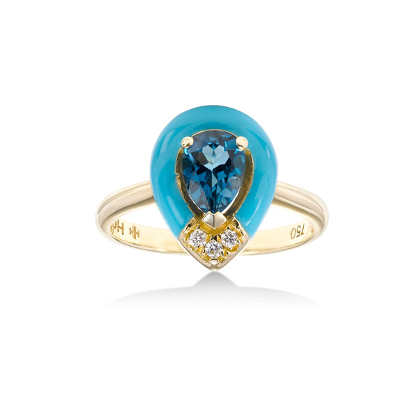 Pear Shape Blue Topaz and Blue Enamel Ring, 18K Yellow Gold