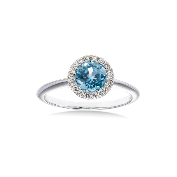 Round Blue Topaz and Diamond Halo Ring, 18K White Gold