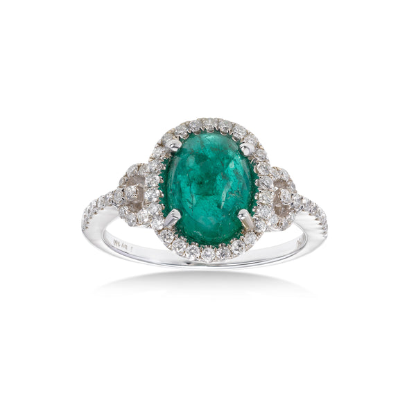 Cabachon Emerald and Diamond Ring, 18K White Gold