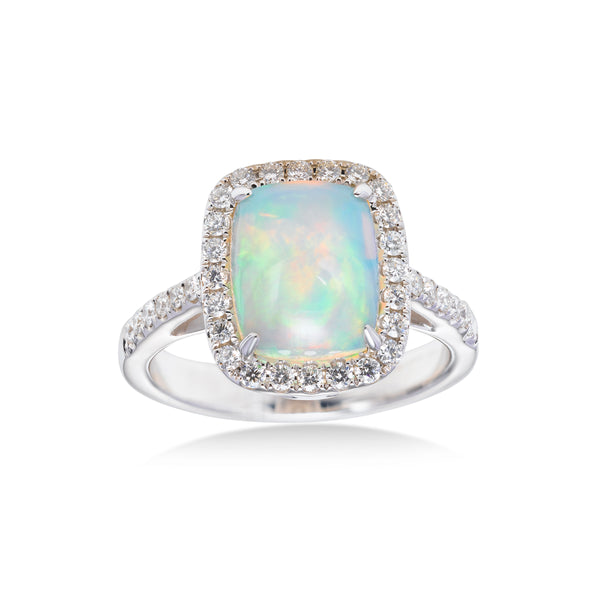 Cabachon Opal and Diamond Halo Ring, 14K White Gold