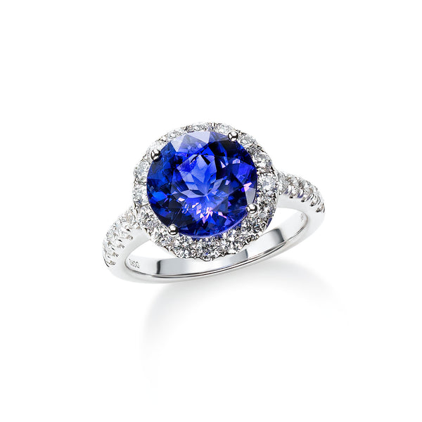Round Tanzanite and Diamond Halo Ring, 18K White Gold
