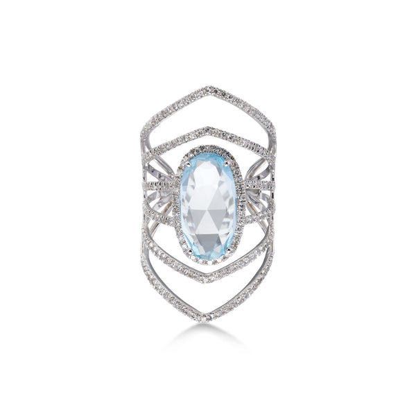 Blue Topaz and Diamond Statement Ring, 14K White Gold