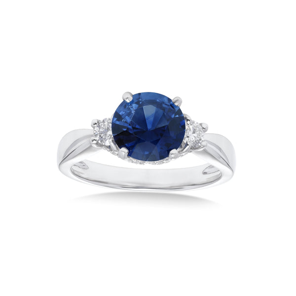 Round Sapphire and Diamond Ring, Platinum