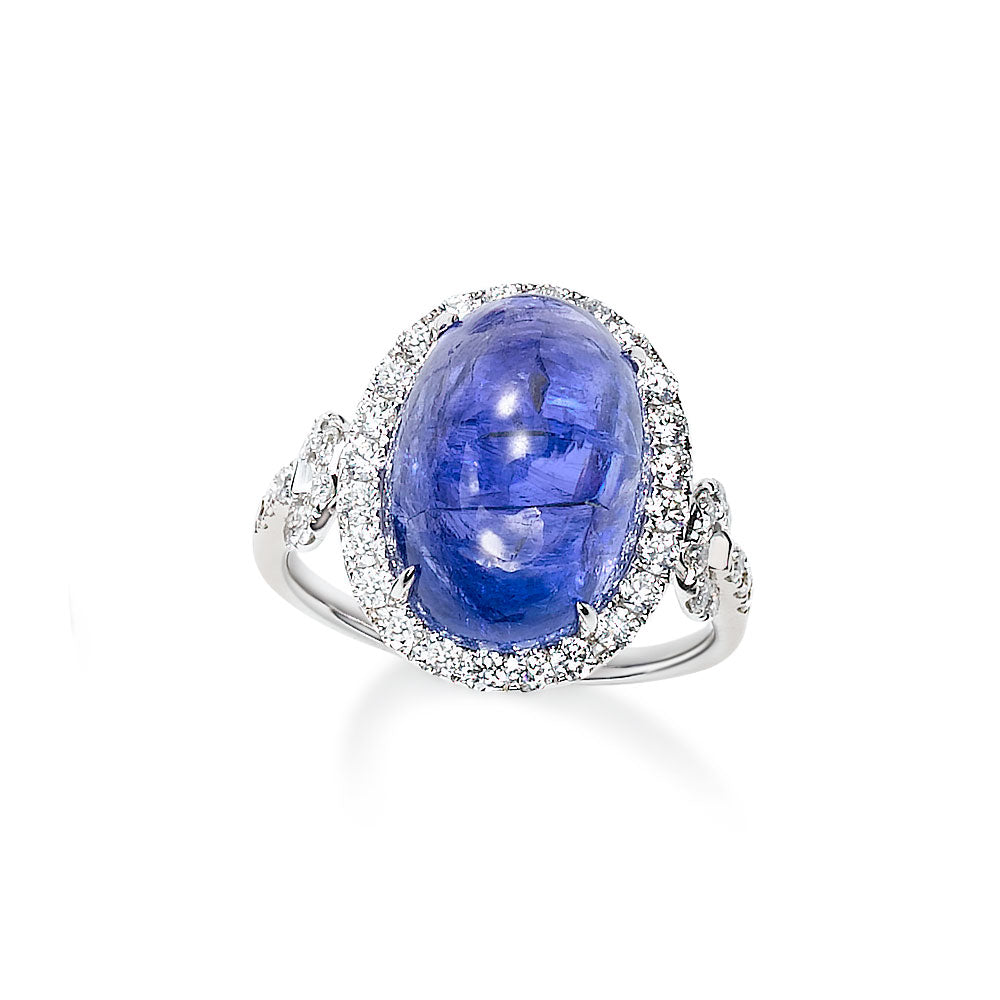 Oval Cabochon Tanzanite and Diamond Halo Ring, 14K White Gold