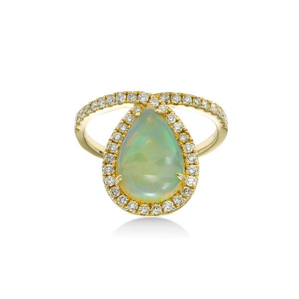Pear Shape Opal with Diamond Halo Ring, 14K Yellow Gold