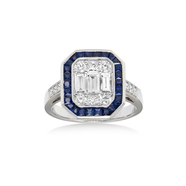 Rectangular Sapphire and Diamond Ring, 18K White Gold
