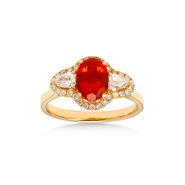 Mexican Fire Opal Ring with Diamonds, 18K Yellow Gold