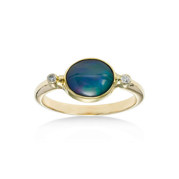 Horizontal Set Ethiopian Opal Ring with Diamond Accents, 14K Yellow Gold