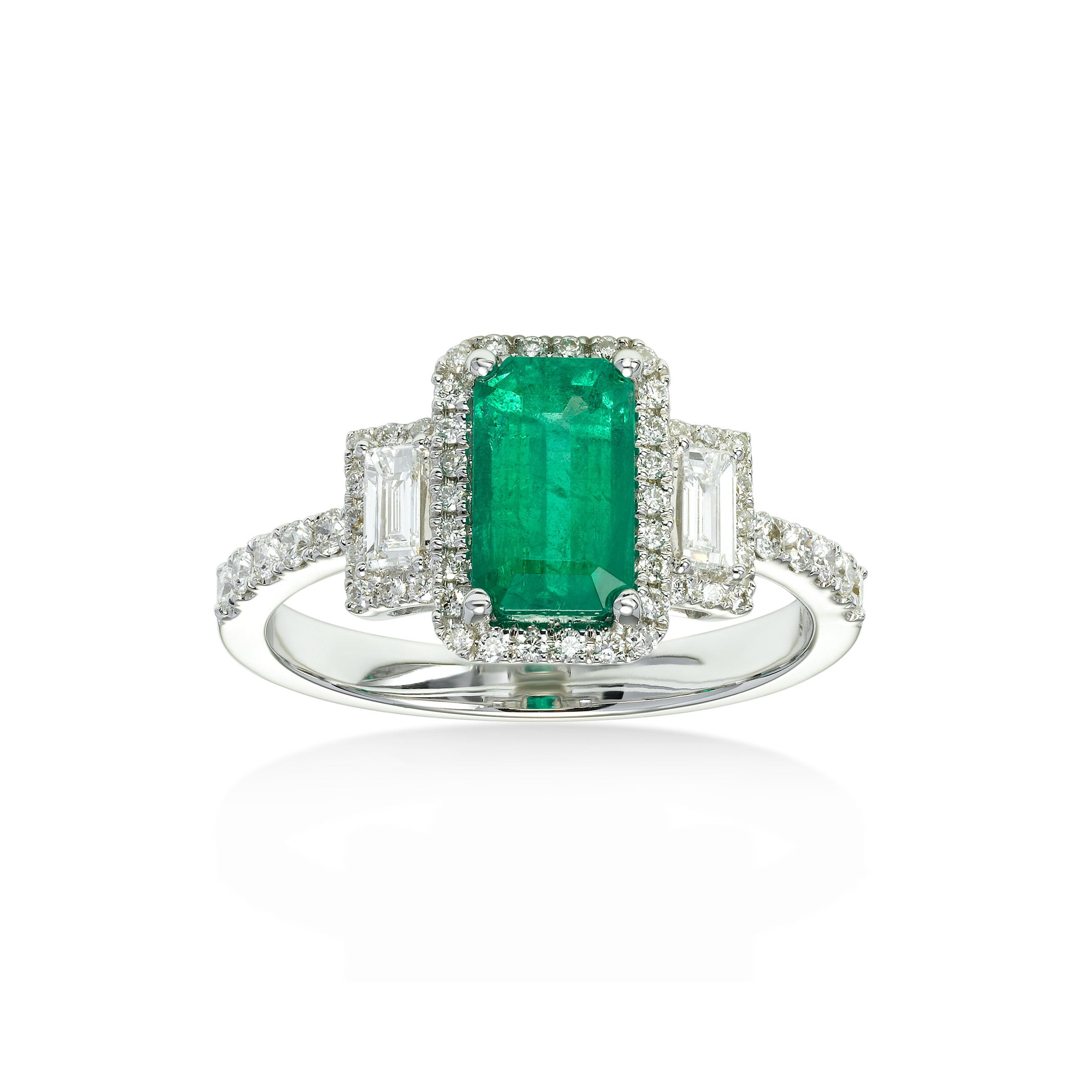 Deco Style Emerald and Diamond Ring, 18K White Gold