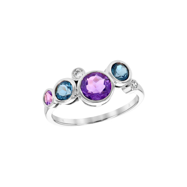 Bezel Set Amethyst, Blue Topaz and Diamond Ring, 14K White Gold