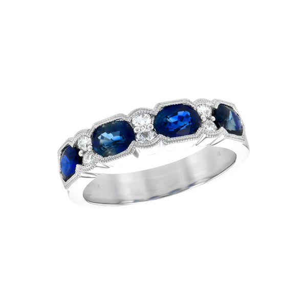 Vintage Style Blue Sapphire and Diamond Band, 14K White Gold