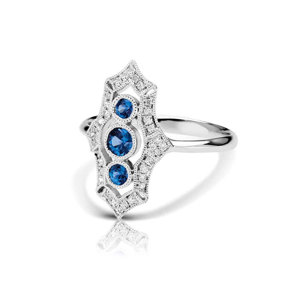 Vintage Style Sapphire and Diamond Ring, 14K White Gold